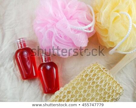 Stockfoto: Douche · gel · decoratief · zeep · geïsoleerd · witte