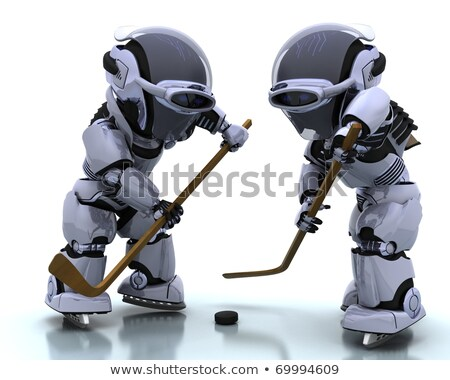 Robot Playing Icehockey Stockfoto © Kjpargeter