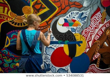 Foto stock: Mulher · spray · pintura · casa · menina
