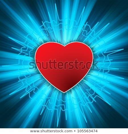 Glowing Heart with heartbeat. EPS 8 Stock photo © beholdereye