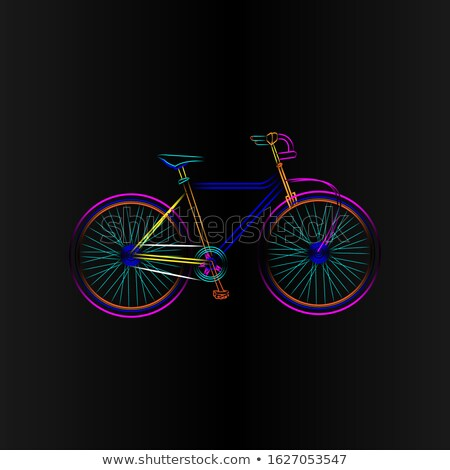Néon vélo symbole illustration noir blanche Photo stock © experimental
