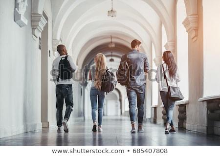 Studenten campus onderwijs gebouwen meisjes tanden Stockfoto © photography33