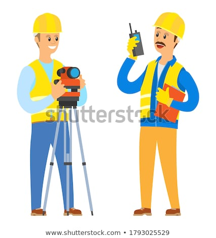 Architect with plans and radio receiver Stock photo © photography33