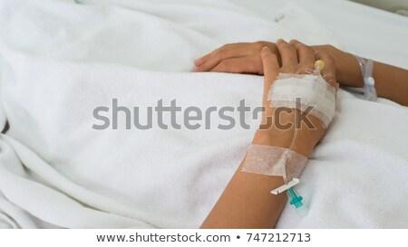 Foto stock: Intravenoso · agulha · mão · cirúrgico · luva