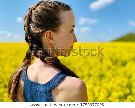 beautiful teenage girl with pigtail portrait Stock photo © goce