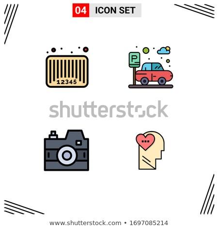 Kleurrijk barcode hoofd vector verkoop poster Stockfoto © krabata