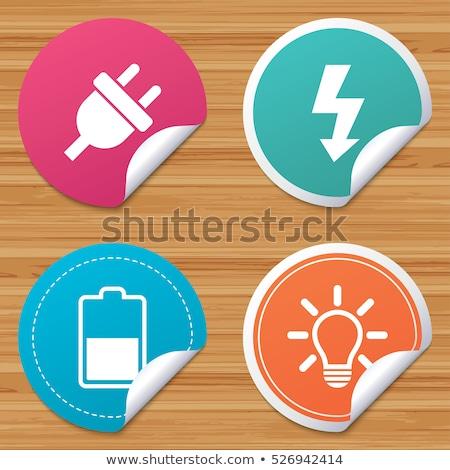électricité étiquettes vintage rouge rétro Photo stock © kistrialos