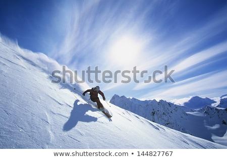 Foto stock: Esquiar · risco · perigo · painel · seguir · montanha
