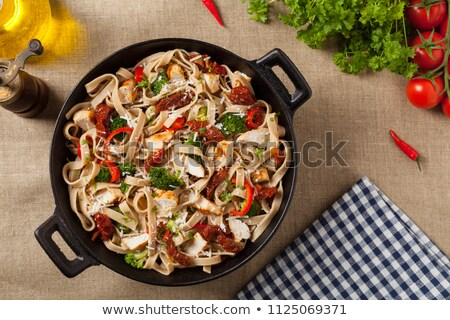 tagliatelle with chicken and vegetables Stock photo © M-studio