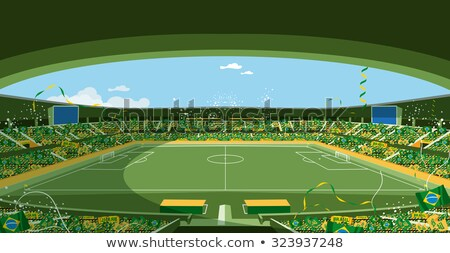 brazil with flag and footballfield Stock photo © unkreatives