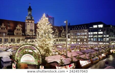 Stockfoto: Christmas · markt · huis · boom · gebouw · klok