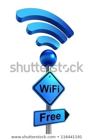 Wifi Hotspot Sign Pole Сток-фото © donskarpo