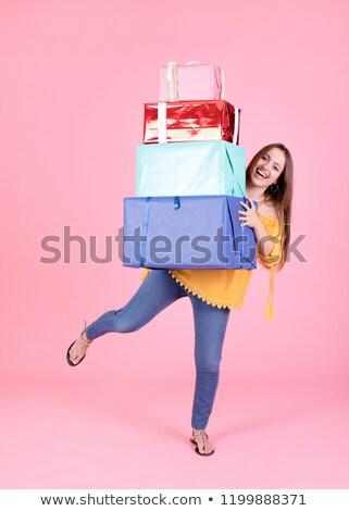 Stockfoto: Vrouwelijke · handen · groot · geschenkdoos · meisje · winkelen