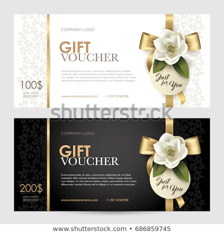 Black gift card with golden ribbon with floral pattern Stock photo © liliwhite
