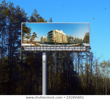 Publicity board about sale of new apartments Stock photo © vavlt