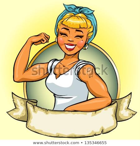 pin up summer girl vector illustration stock photo © carodi