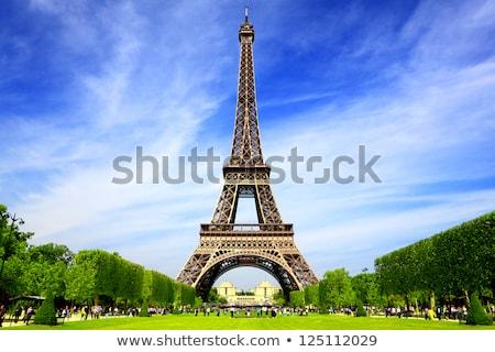 Eyfel Kulesi Paris Fransa ağaçlar mavi bayrak Stok fotoğraf © smartin69