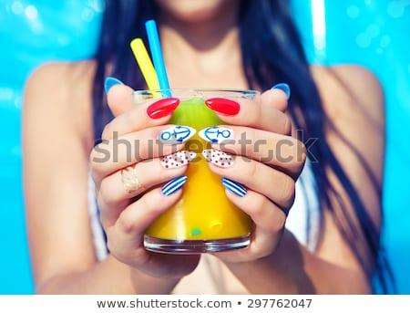 mulher · marinheiro · gradiente · sorrir · moda · verão - foto stock © elnur