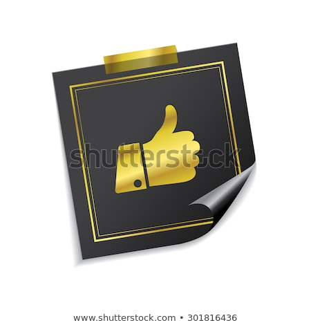 thumbs up golden sticky notes vector icon design stock photo © rizwanali3d