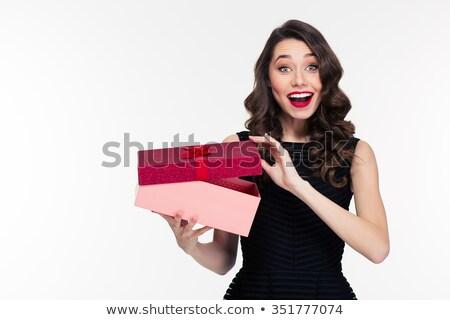 Vonzó izgatott fiatal nő retro hajviselet fekete ruha Stock fotó © deandrobot
