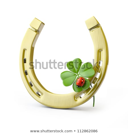 golden horseshoe and clover leaf symbol of good luck stock photo © orensila