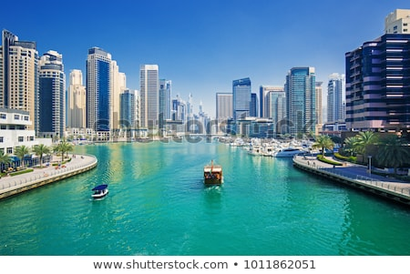 Dubaï marina bateaux Skyline Moyen-Orient eau Photo stock © unkreatives