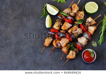 Tyúk nyárs zöldség saláta grillcsirke étel Stock fotó © Digifoodstock