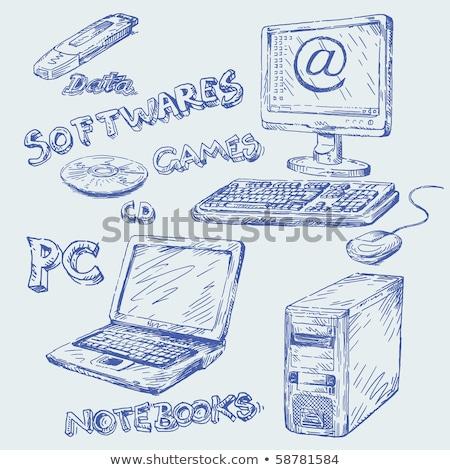 impressora · ícone · linha · estilo · papel · tecnologia - foto stock © pakete