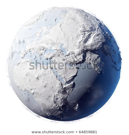 Buz dünya 3d illustration Avrupa Afrika harita Stok fotoğraf © 7Crafts