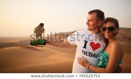 Menina falcão deserto ilustração natureza fazenda Foto stock © adrenalina