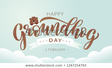 Happy Groundhog Day. Lettering text for greeting card Stock photo © orensila