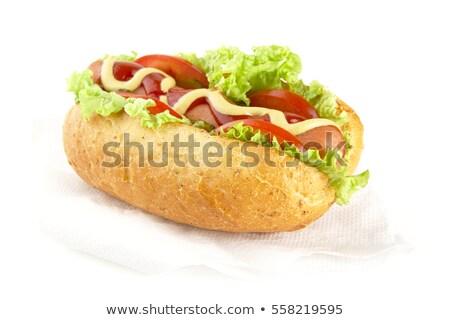 Hotdog ingrediënten witte hot dog papier ontbijt Stockfoto © dla4