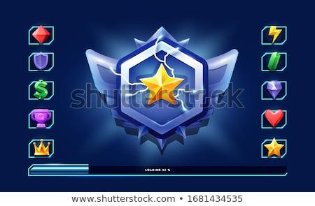 Rayo iconos placa juego ui ilustración Foto stock © benchart