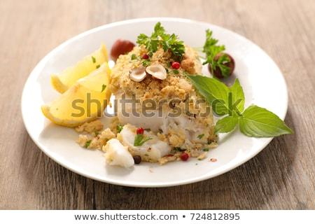 Hal filé mogyoró étterem ősz étel Stock fotó © M-studio
