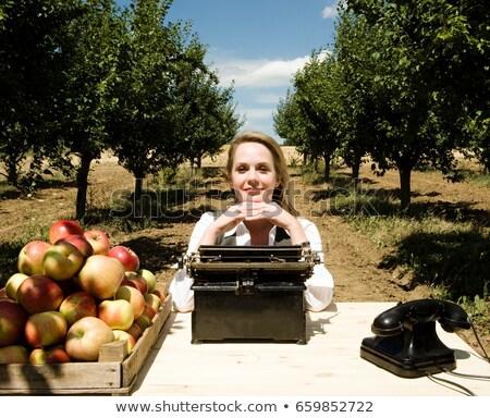 Femme séance bureau verger affaires pomme Photo stock © IS2