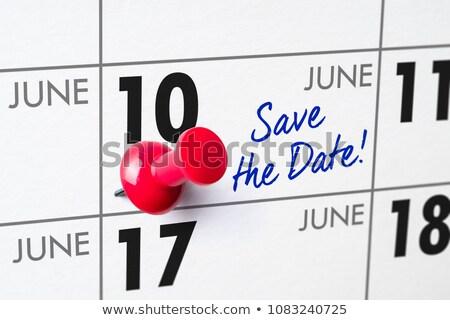 Foto stock: Pared · calendario · rojo · pin · 10 · cumpleanos