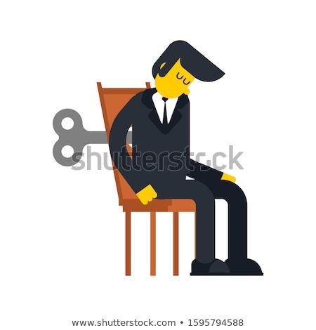 Businessman Clockwork Key. Business toy robot mechanism gear. Ve Stock photo © MaryValery