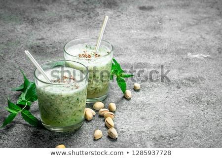 zöld · smoothie · menta · alma · üveg · egészség · zöld - stock fotó © melnyk