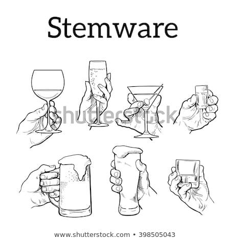 Male hand hold glass beer Stock photo © nezezon