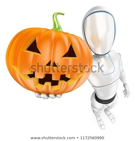 3D Humanoid robot with a big pumpkin. Halloween Stock photo © texelart