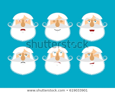 Old man happy Emoji. senior with gray beard face laughs emotion  Stock photo © popaukropa