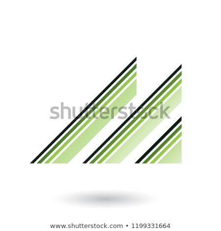 green letter m with diagonal retro stripes vector illustration stock photo © cidepix