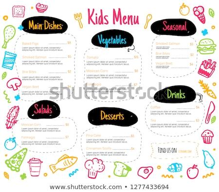 創造 子供 レストラン メニュー パンフレット テンプレート ストックフォト © blumer1979