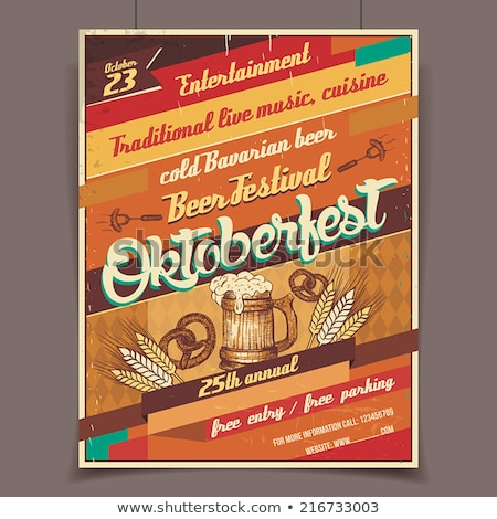 oktoberfest party flyer design with typography lettering on vintage wood board vector traditional g stock photo © articular