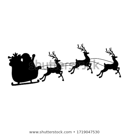 Merry Christmas Santa Sleigh Cartoon Graphic Stock photo © Krisdog