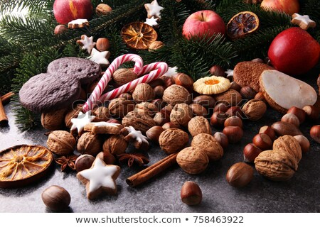 Mézeskalács diók gyümölcsök vidám karácsony boldog Stock fotó © BarbaraNeveu