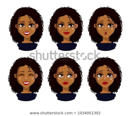 Triste Desenho Animado Mulher Negra Ilustracao Olhando