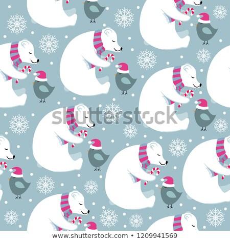 Рождества полярный Медведи мало птиц Сток-фото © balasoiu