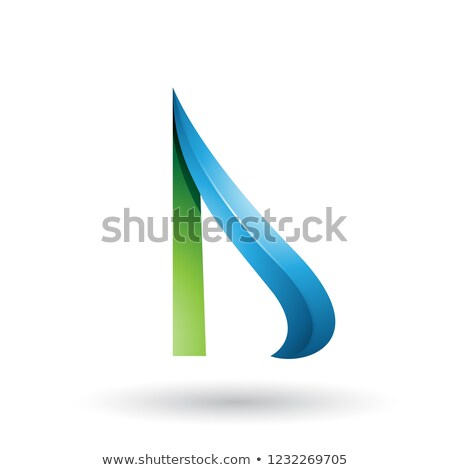 Green and Blue Embossed Arrow-like Letter D Vector Illustration Stock photo © cidepix