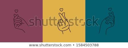ícone dedo coração linear estilo Foto stock © Olena